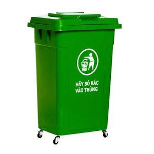 Thùng rác nhựa 60 lít màu xanh lá có bánh xe