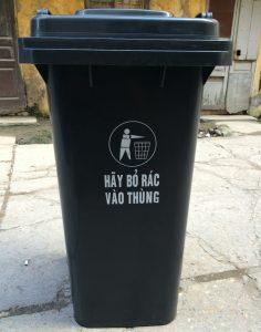 Thùng rác nhựa 60 Lít mầu ghi có bánh xe