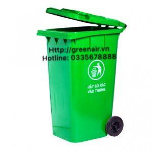 Thùng rác nhựa 240 lít nắp kín có bánh xe
