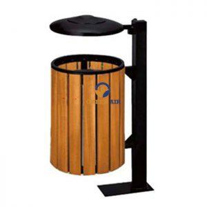 Thùng rác gỗ ngoài trời treo đơn