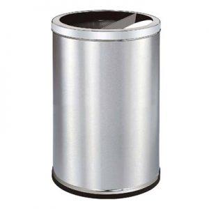 Thùng rác inox tròn có gạt tàn thuốc lá A35K