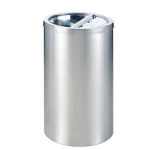 Thùng rác inox tròn có gạt tàn thuốc lá 35Y-3873T